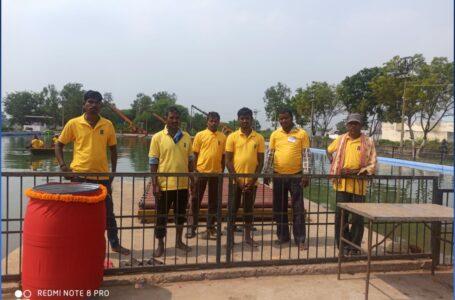 नगर निगम जोन 8 द्वारा दुर्गा माता की मूर्तियों के विसर्जन की तैयारियां पूर्ण